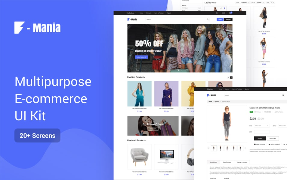 F Mania Multipurpose E-Commerce UI Kit