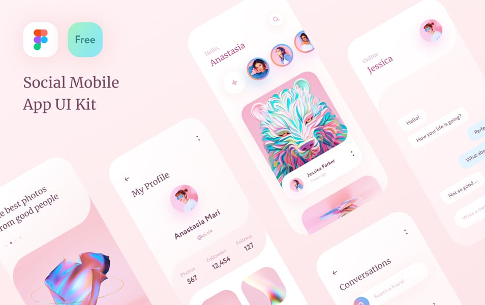 FREE Social Mobile App UI Kit