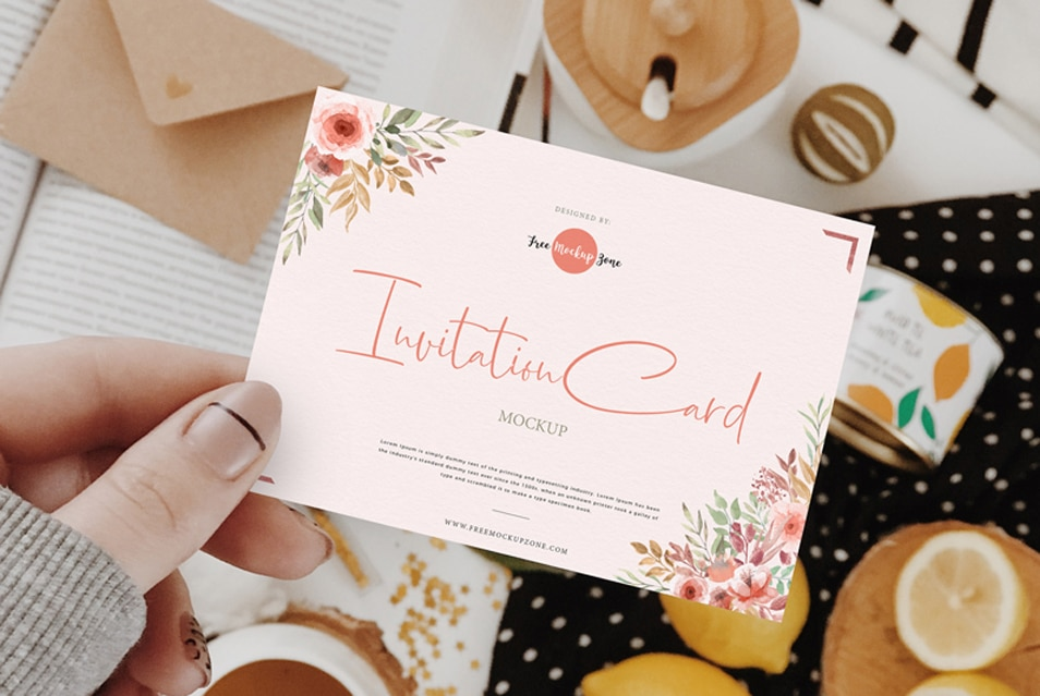 Free Girl Showing Invitation Card Mockup