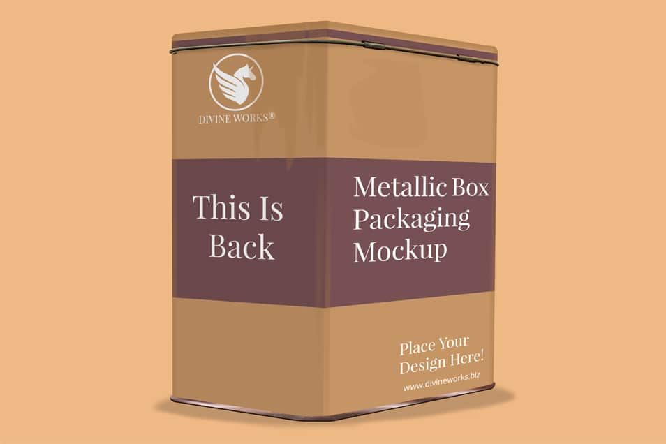 Free Metallic Box Packaging Mockup