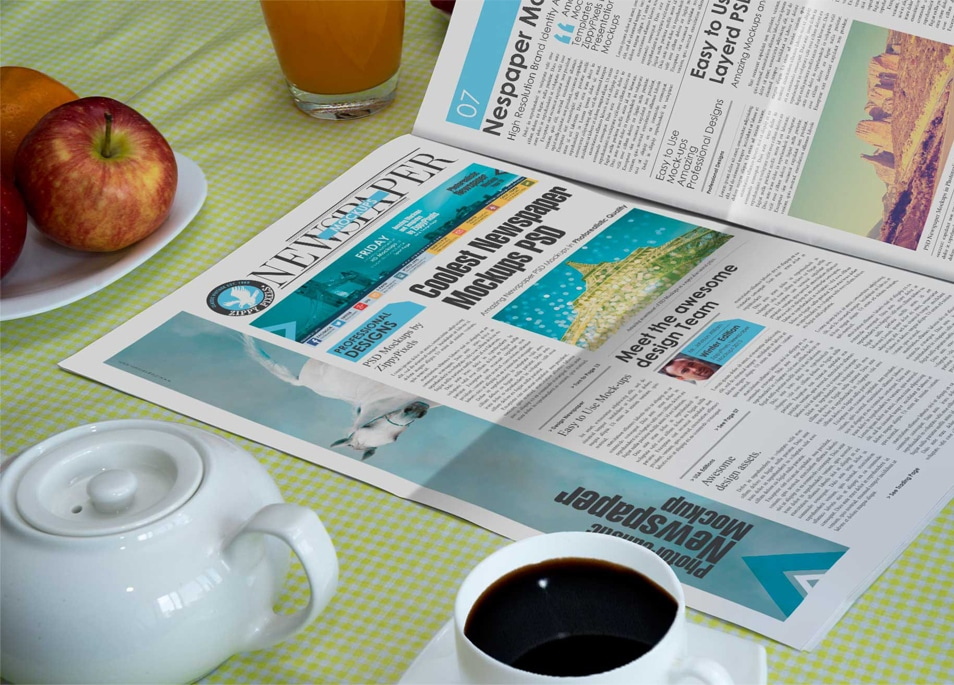 Free Newspaper Black Coffee Mockup