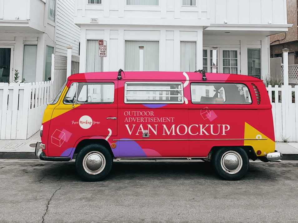 Free Outdoor Advertisement Van Mockup