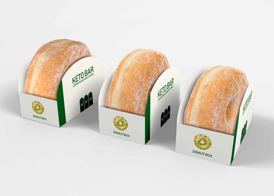 Free Paper Donut Box Packaging Mock Up