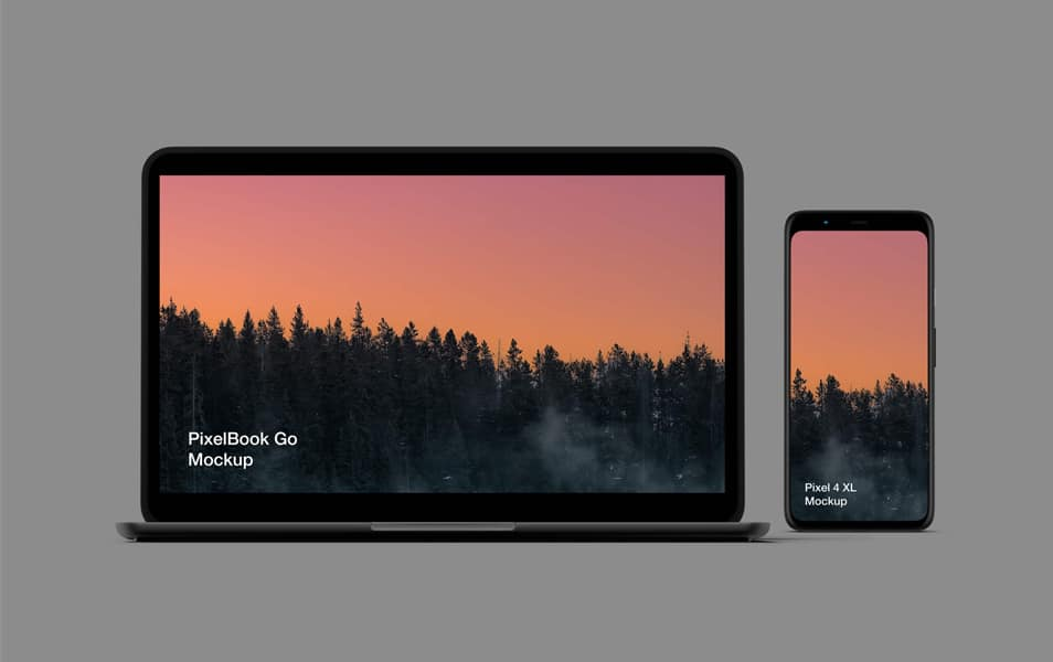 Free Pixel 4 and PixelBook Go Mockup