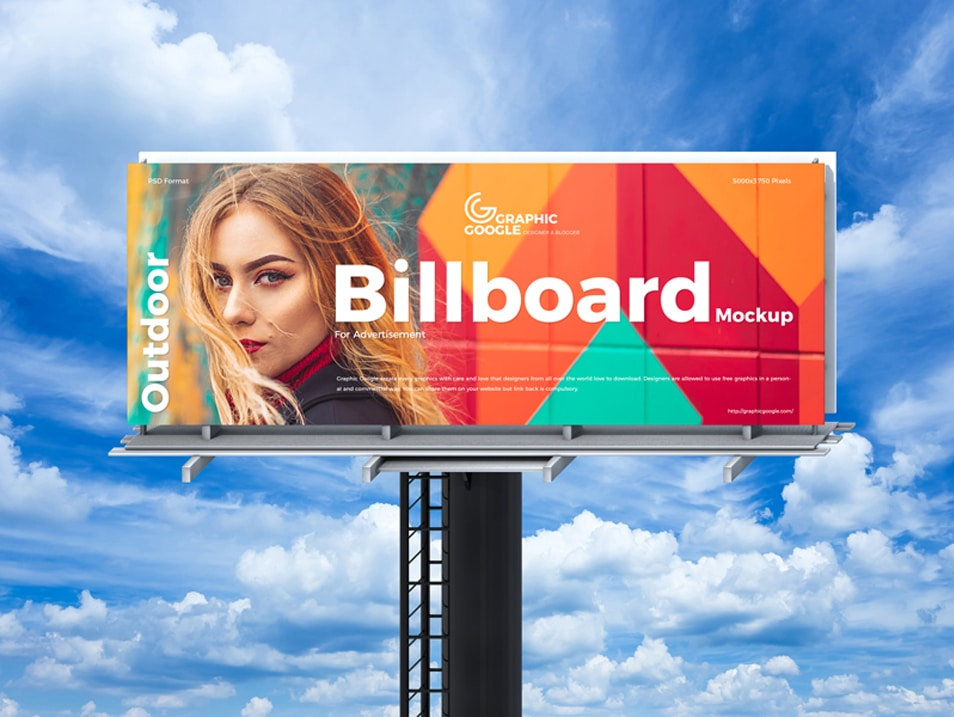 Free Sky Outdoor Billboard Mockup