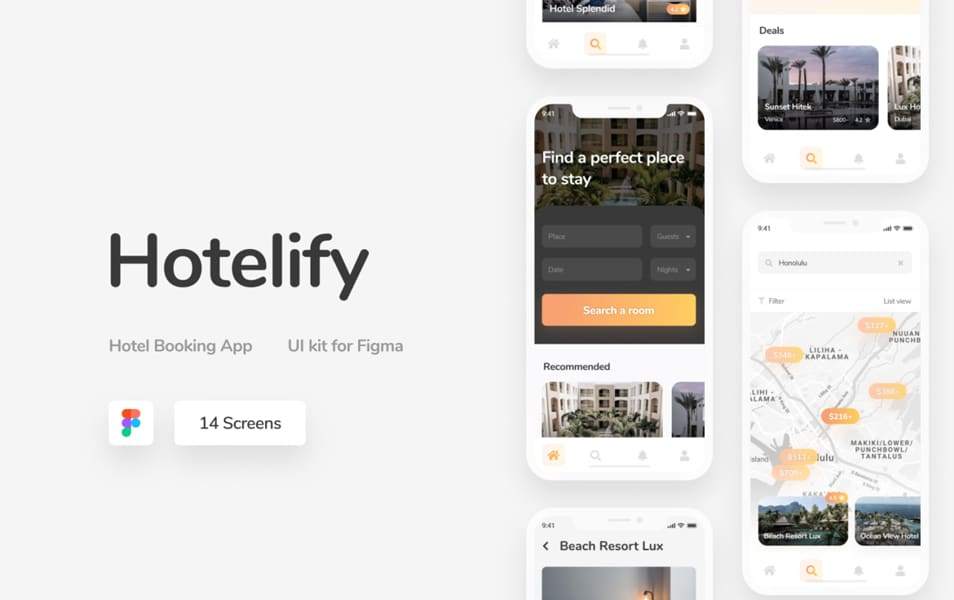 Hotelify Free iOS mobile kit for Figma