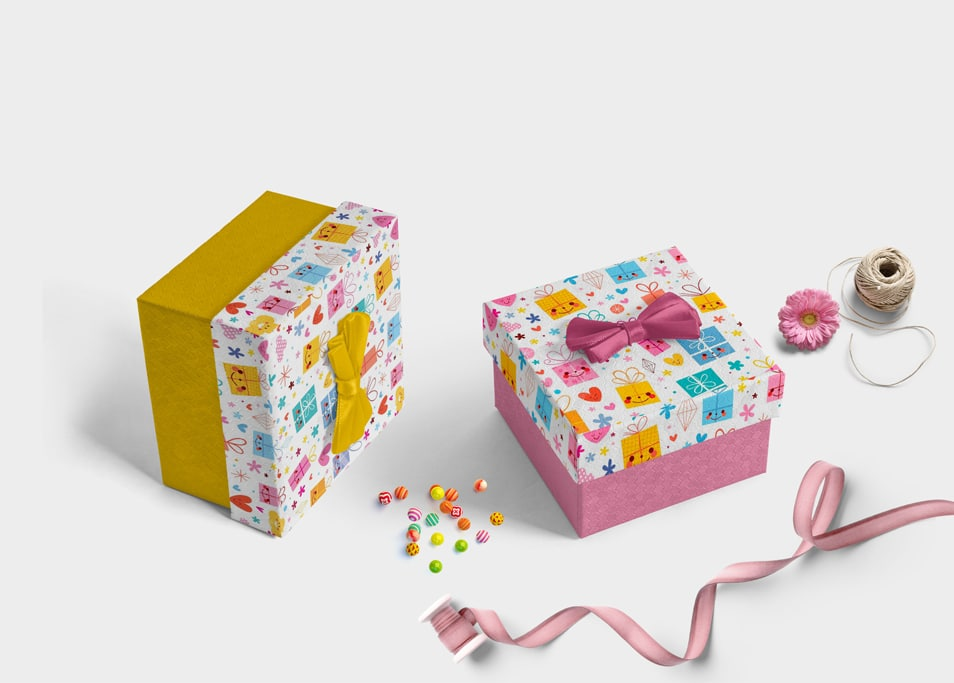 Nice Gift Box Label Design Mockup