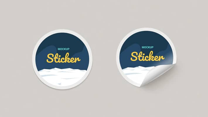 Round Paper Stickers Mock-up
