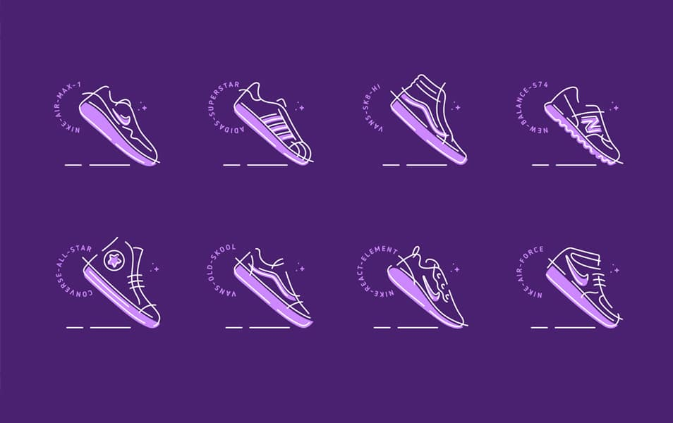 Sneakers Icon Set