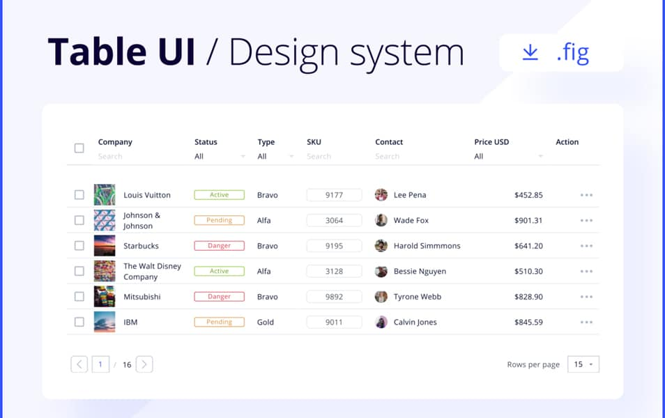 Table UI / Design System