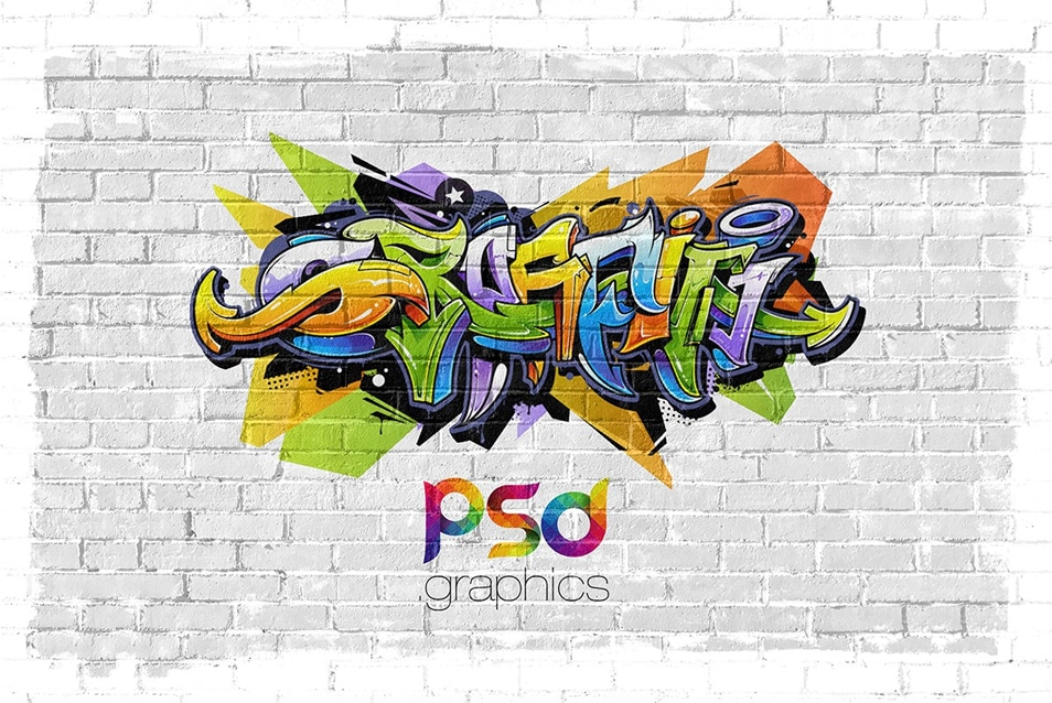 Wall Graffiti Mockup PSD