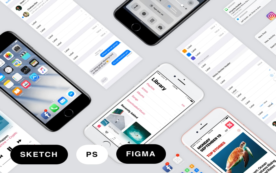 iOS 10 iPhone GUI Template