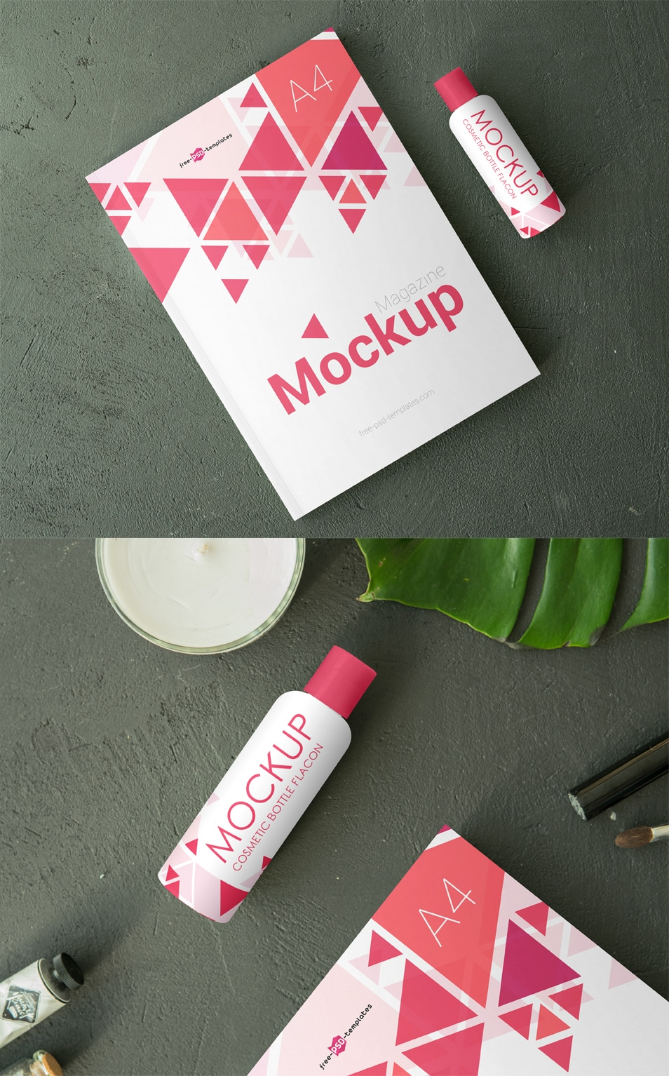 2 Free Cosmetic Bottle Flacon Mock-ups in PSD