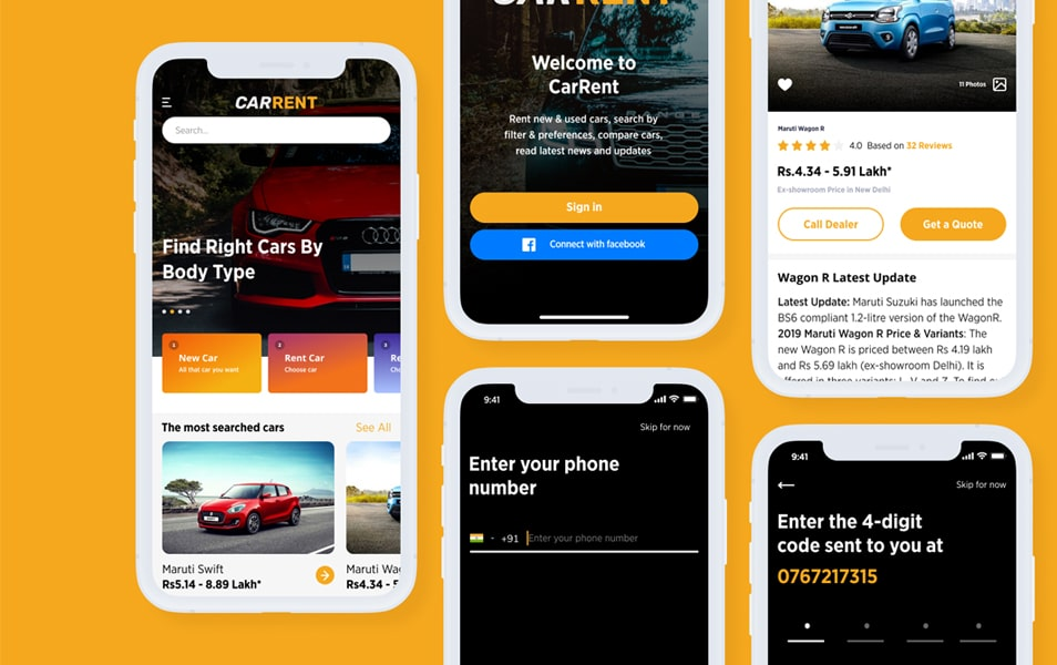 Car Rent App UI Design