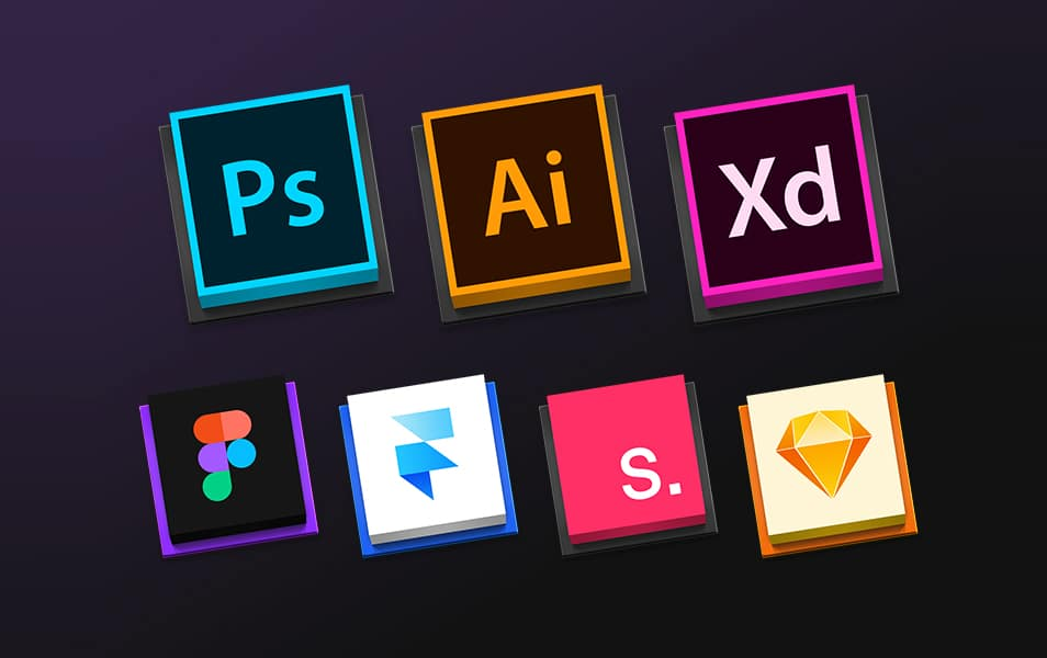 Design Tools Square Icons Sets