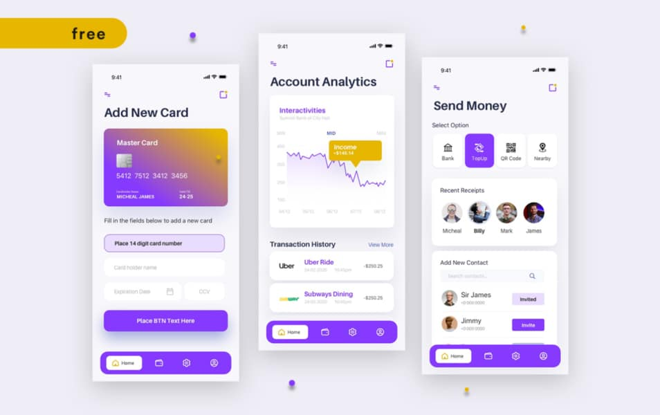 FREE UI Screens Bank Wallet