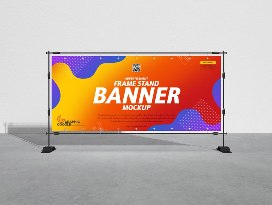 Free Advertisement Frame Stand Banner Mockup