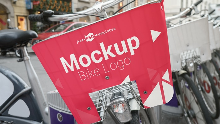 Free Bike Logo Mock-up in PSD