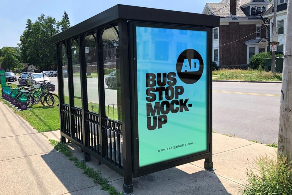 Free Bus Stop Advertising Signage on Sidewalk Mockup PSD