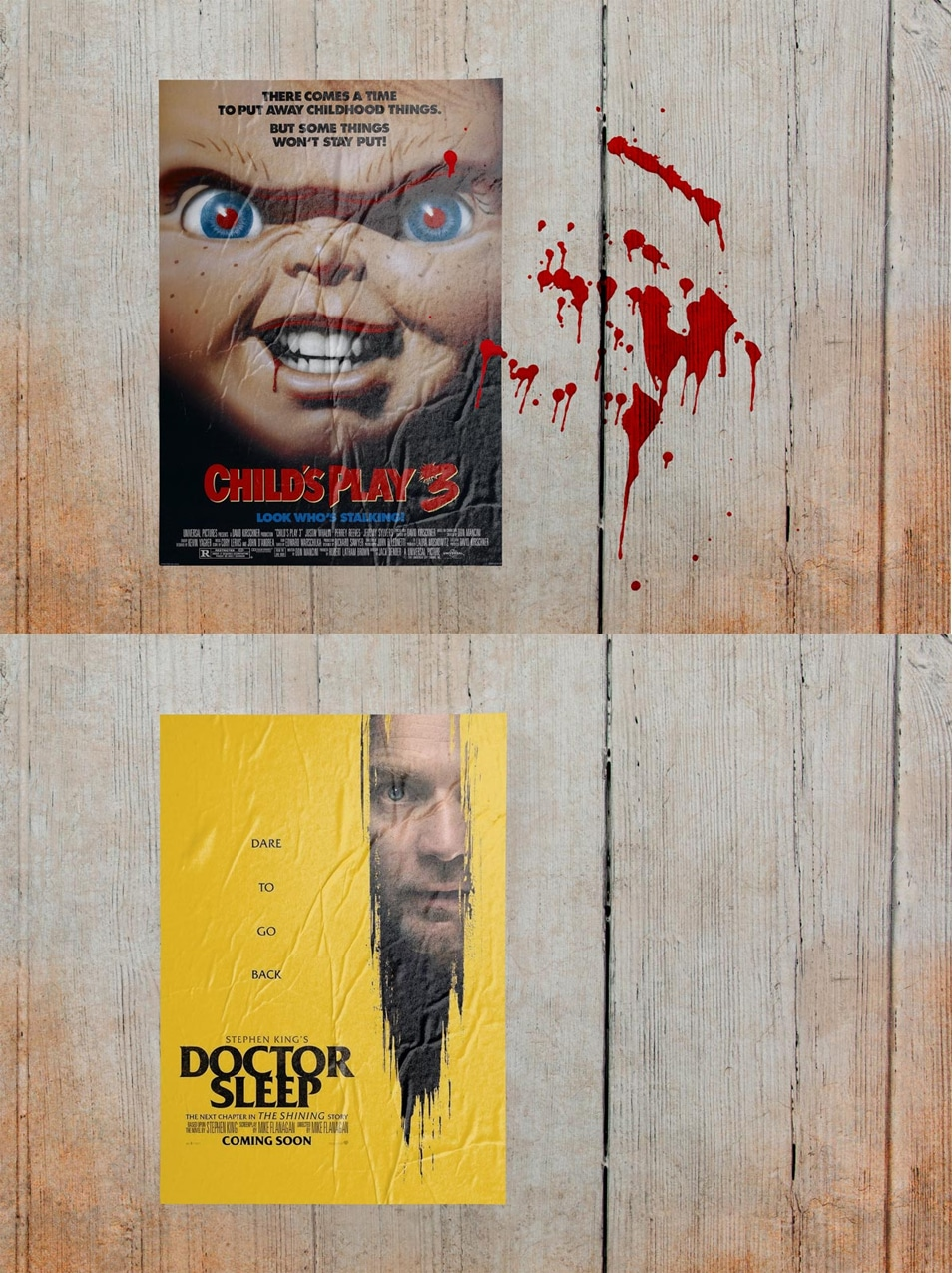 Free Crumpled Paper Horror Movie Poster Mockup PSD