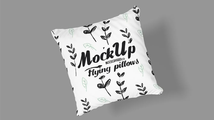 Free Flying Pillows PSD MockUps