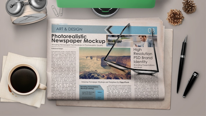 Free Morning Table News Paper Mockup