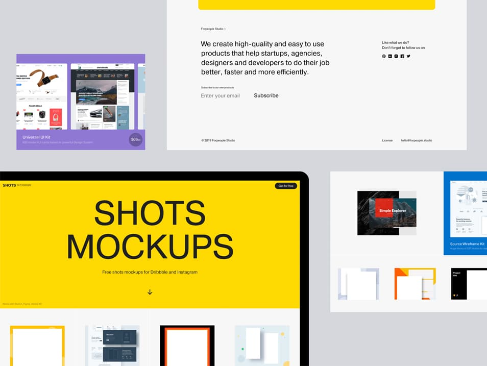 Free Shots Mockups for Dribbble and Instagram