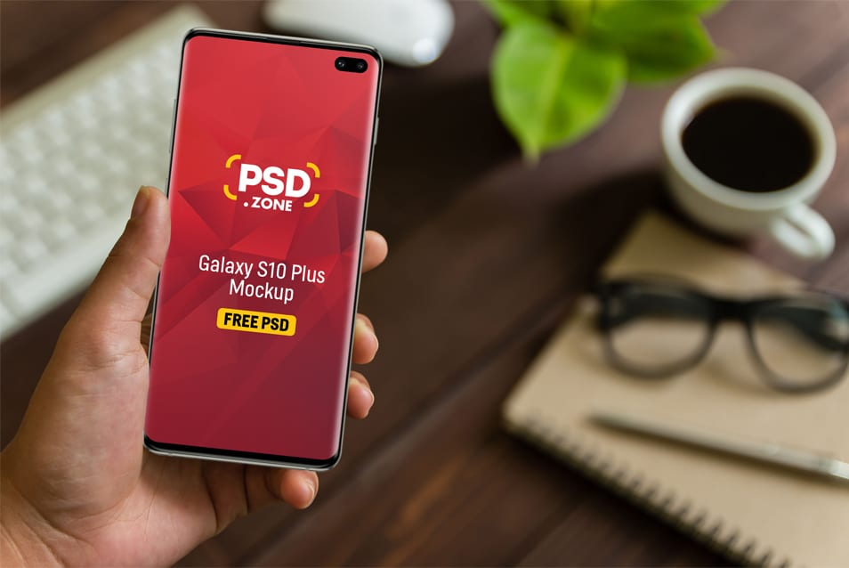 Galaxy S10 Plus in Hand Mockup PSD