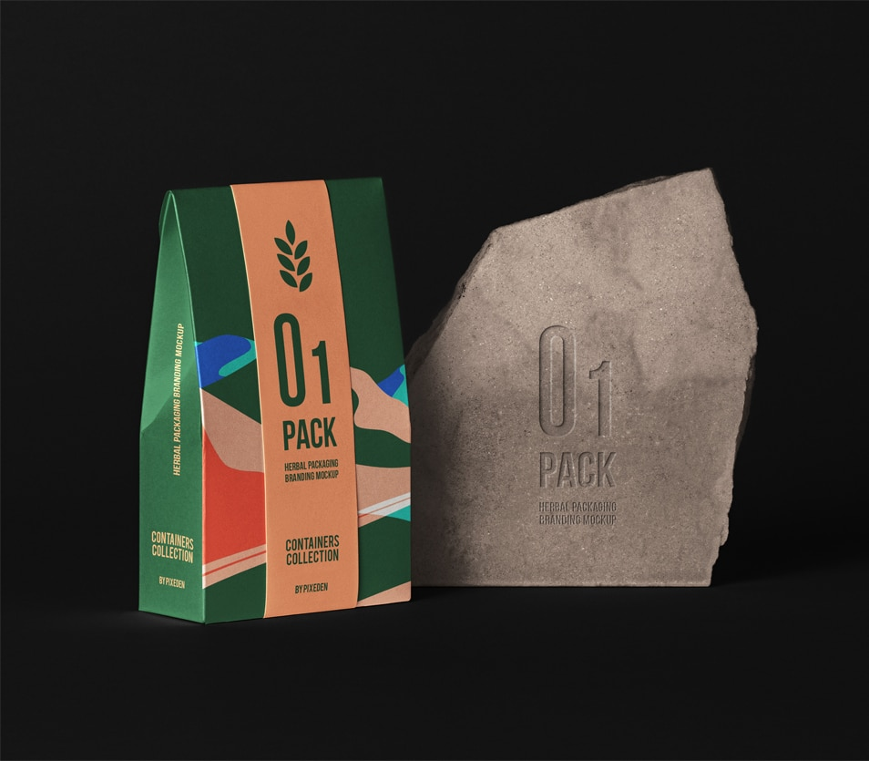 Herbal PSD Bag Packaging Mockup