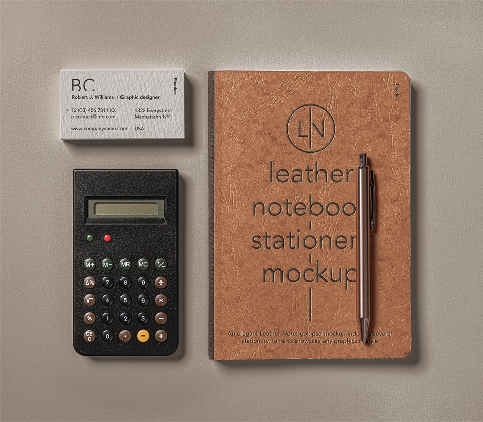 Leather Cover PSD Notebook Mockup Set