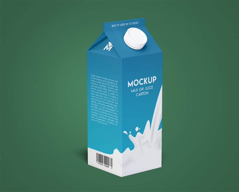 Milk or Juice Carton Free PSD Mockup