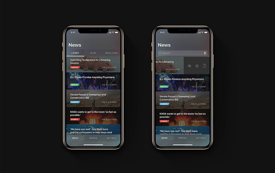 News Feed App Dark Design
