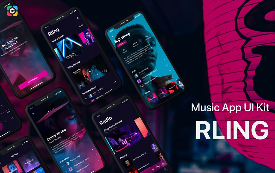 RLING Music App UI Kit Free Version