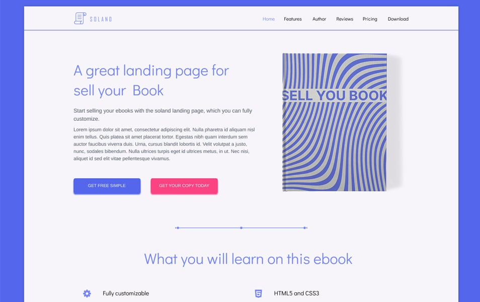 SOLAND Free Book Landing page Template