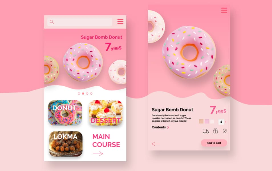 Sweetie App Screen UI Kit