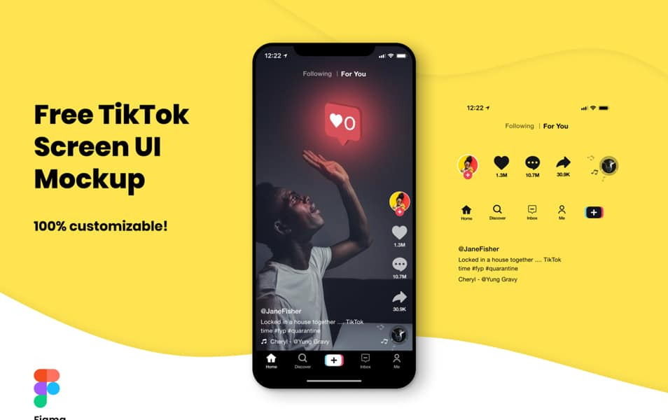 FREE TikTok Screen UI Mockup for Figma
