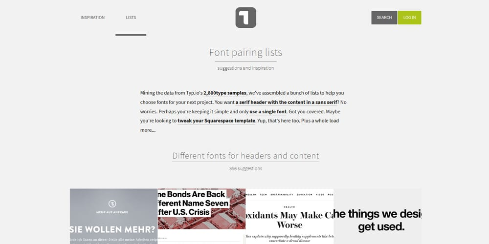 Typo Font Pairing Lists