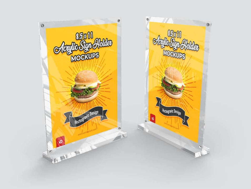 8.5 x 11 Acrylic Sign Holder Mockups