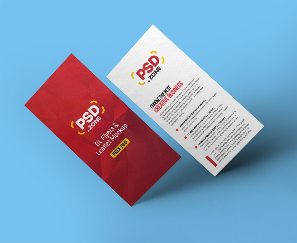Floating DL Flyer Mockup PSD