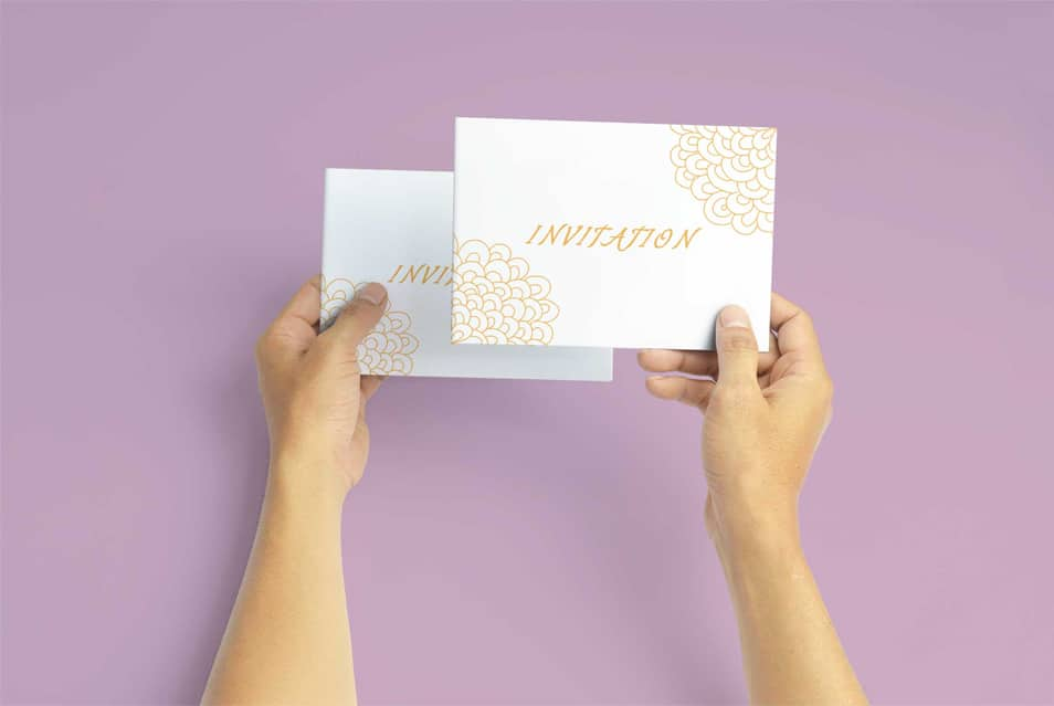 Free Invitation Greeting Card in Hand Mockup