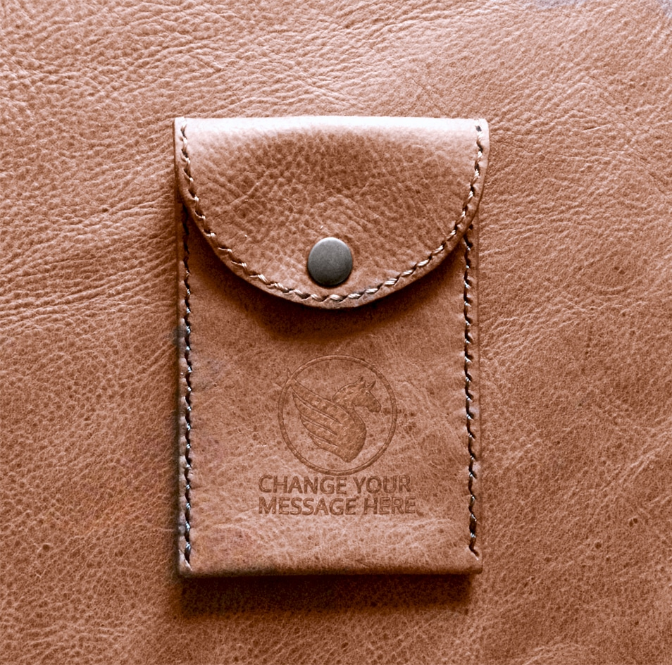 Free Leather Pouch Embossed Logo Mockup