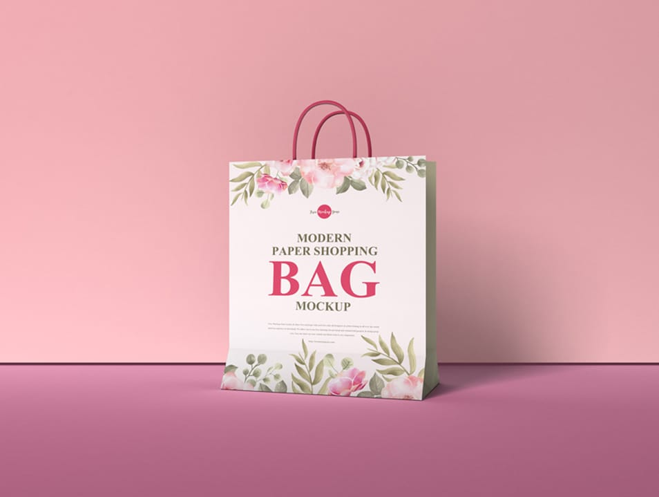 Free Modern Paper Shopping Bag Mockup