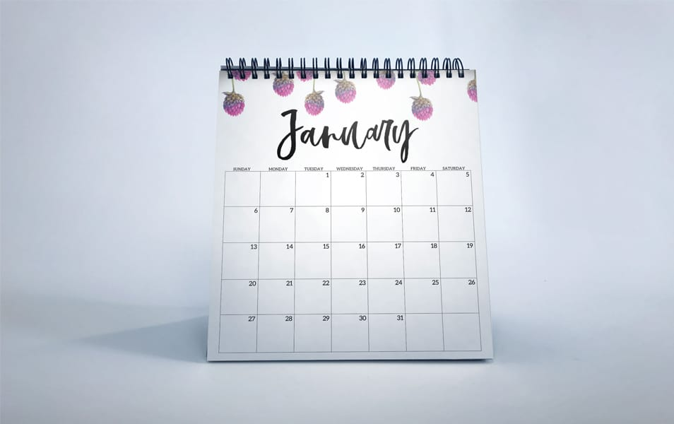 Free PSD January Calendar Design Mockup