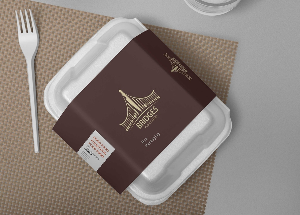 Free Pasta Box Label Design Mockup