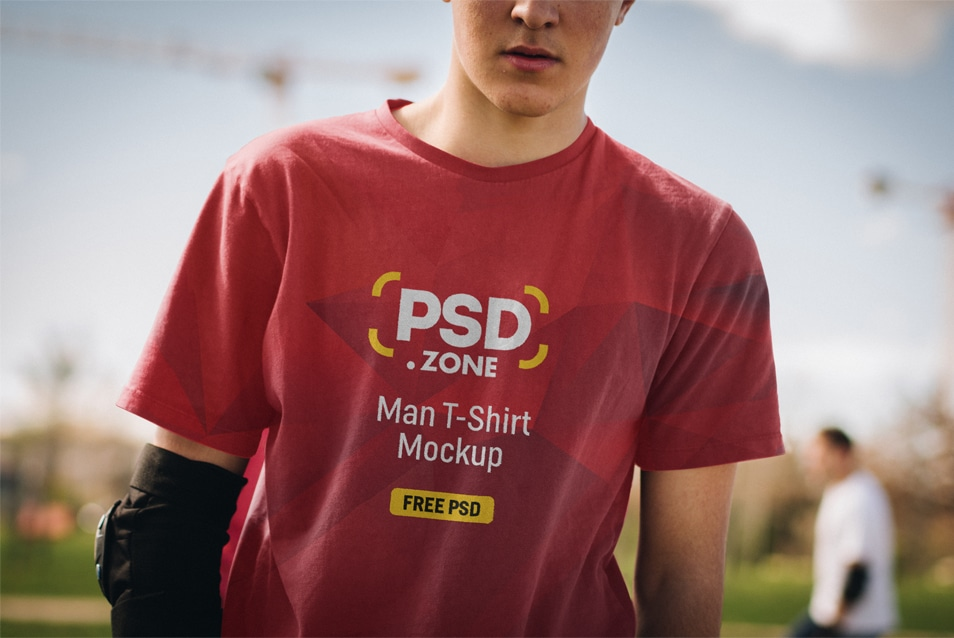 Man T-Shirt Design Mockup PSD