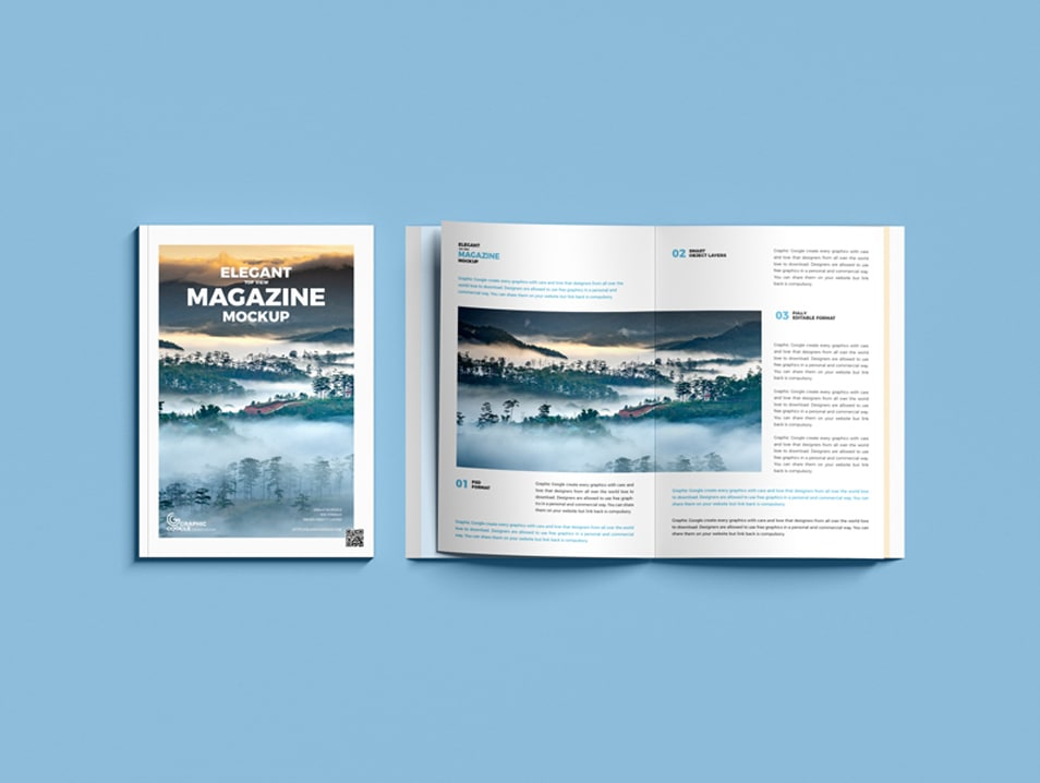 Free Elegant Top View Magazine Mockup