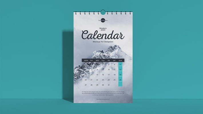Free Modern 2020 Wall Calendar Mockup For Designers