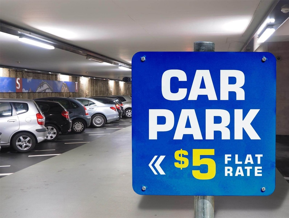 Free Car Parking Signage Mockup PSD
