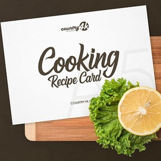 Free Cooking Recipe Card PSD MockUp in 4k