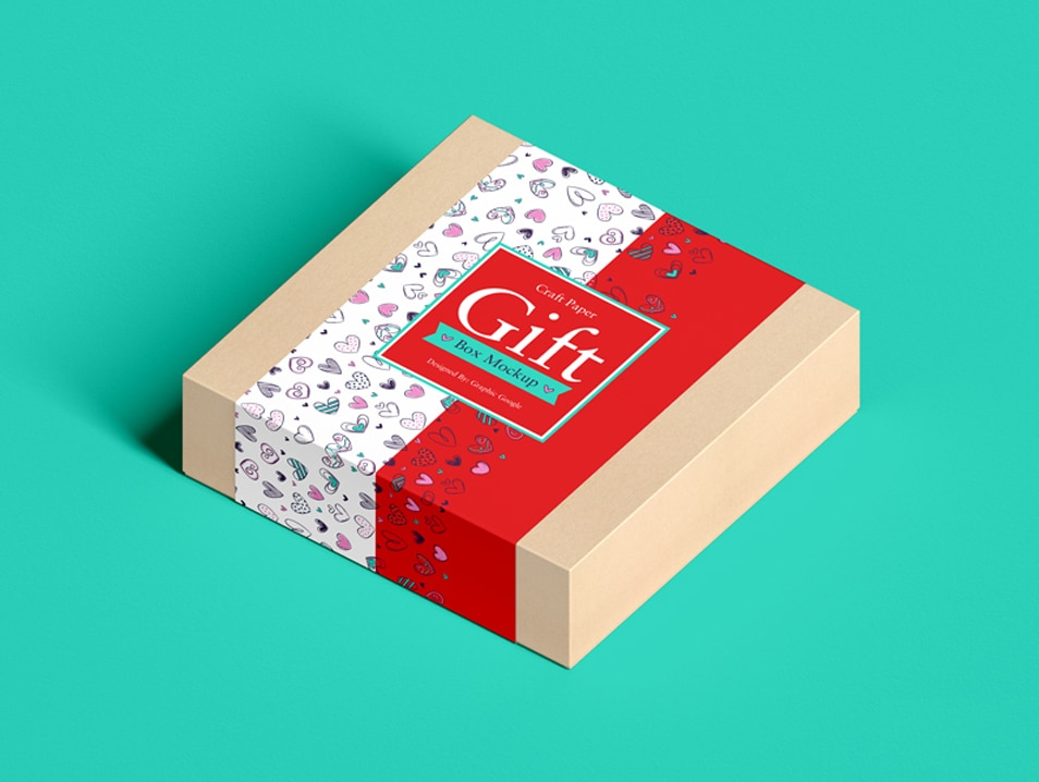 Free Craft Paper Square Gift Box Mockup